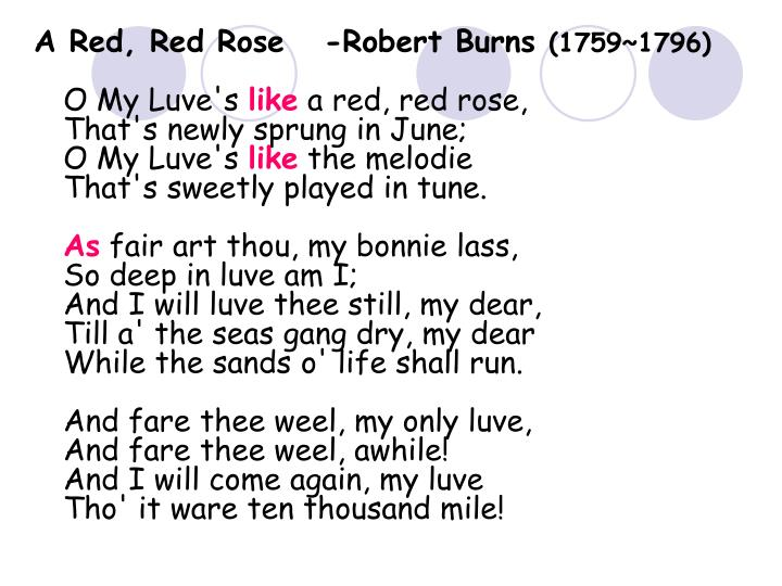 A Red, Red Rose   -Robert Burns