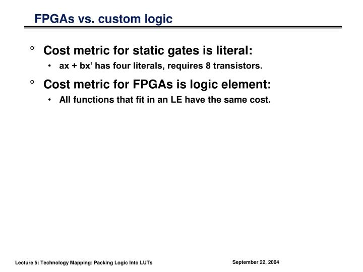 FPGAs vs. custom logic