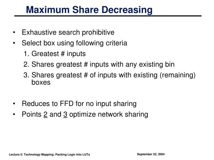 Maximum Share Decreasing