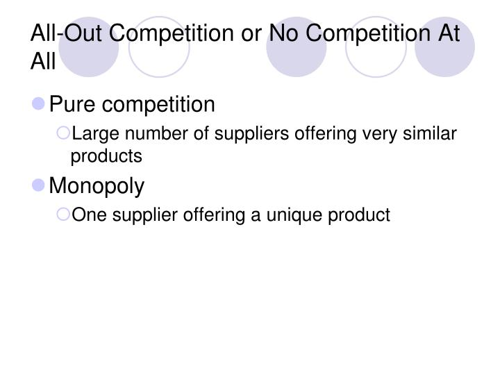 All-Out Competition or No Competition At All
