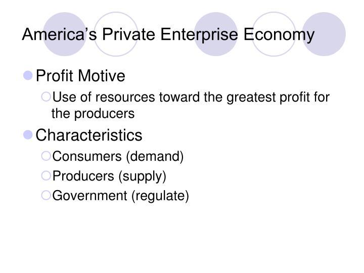 America's Private Enterprise Economy
