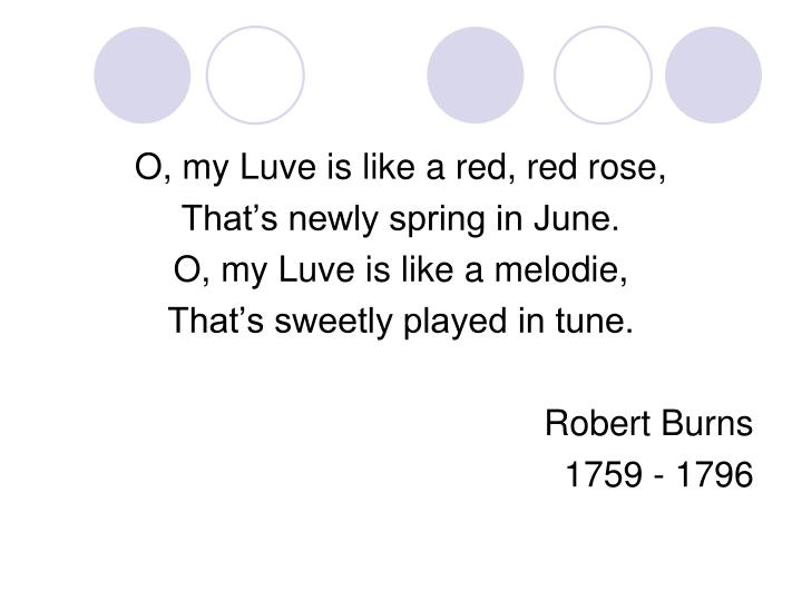 O, my Luve is like a red, red rose,