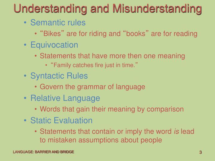 Understanding and Misunderstanding
