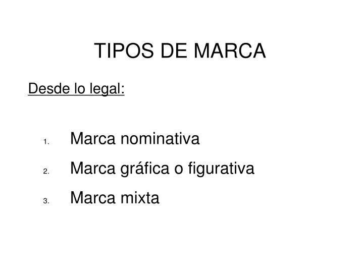 TIPOS DE MARCA