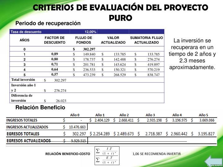 CRITERIOS DE EVALUACIÓN DEL PROYECTO PURO
