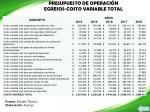 presupuesto de operaci n egresos costo variable total