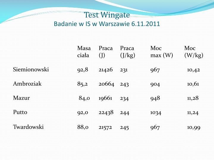 Test Wingate