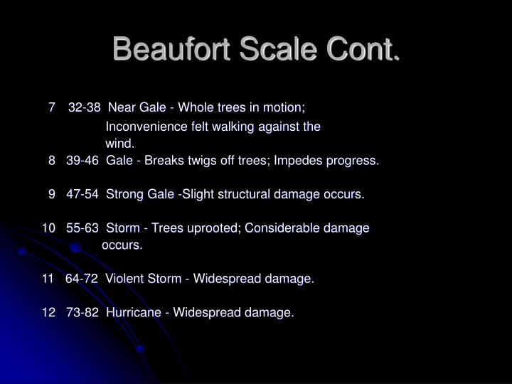 Beaufort Scale Cont.