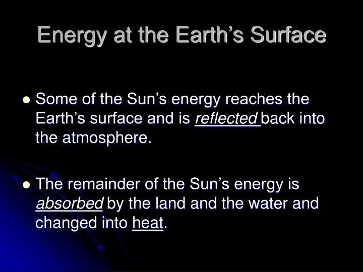 Energy at the Earth's Surface