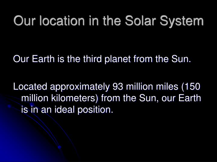 Our location in the solar system