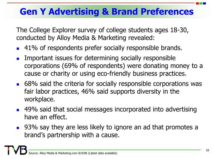 Gen Y Advertising & Brand Preferences