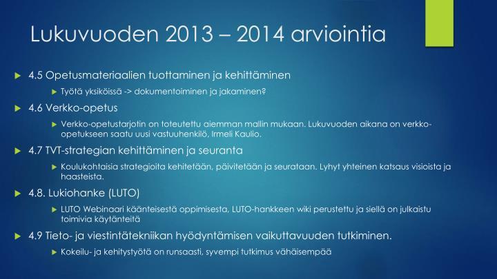 Lukuvuoden 2013 – 2014
