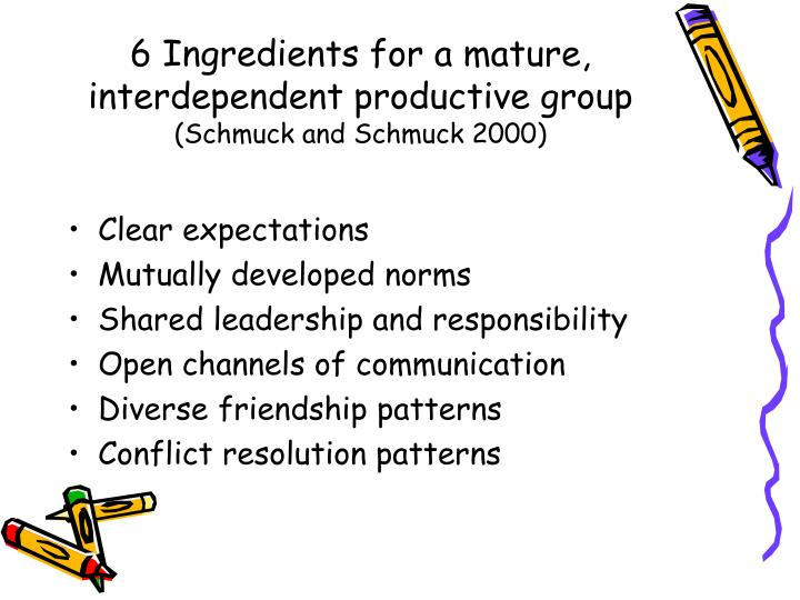 6 Ingredients for a mature, interdependent productive group