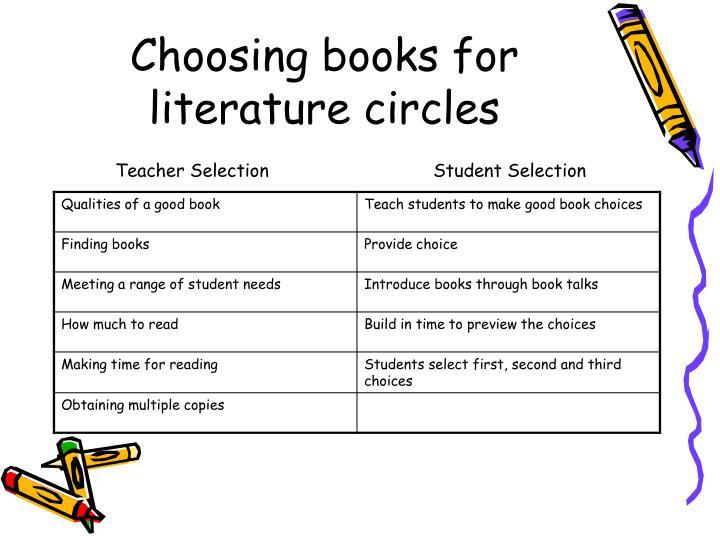Choosing books for literature circles