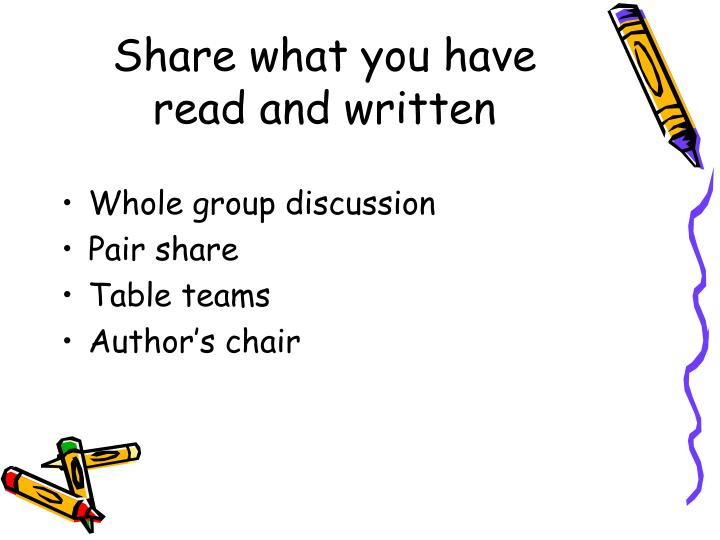 Share what you have read and written