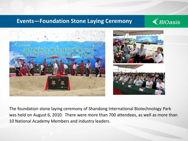 Events—Foundation Stone Laying Ceremony