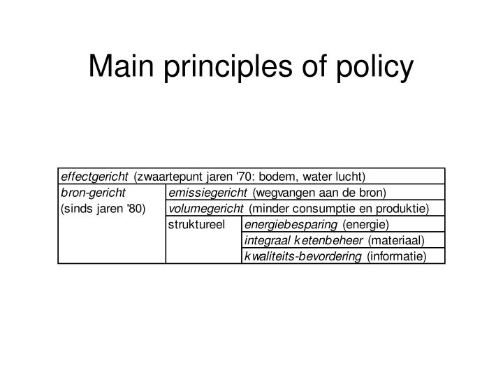 Main principles of policy