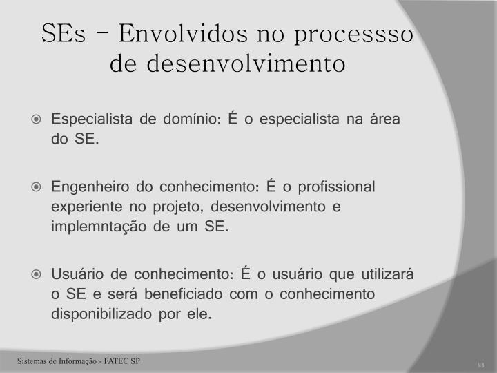 SEs - Envolvidos no processso de desenvolvimento