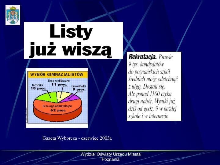 Gazeta Wyborcza - czerwiec 2003r.
