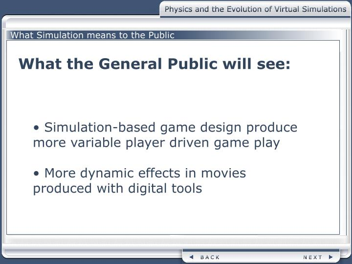 What Simulation means to the Public