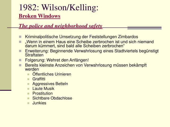 1982: Wilson/Kelling: