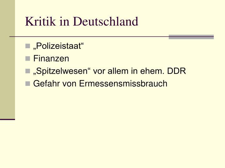 Kritik in Deutschland