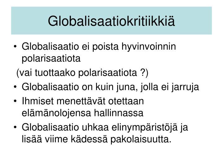 Globalisaatiokritiikkiä