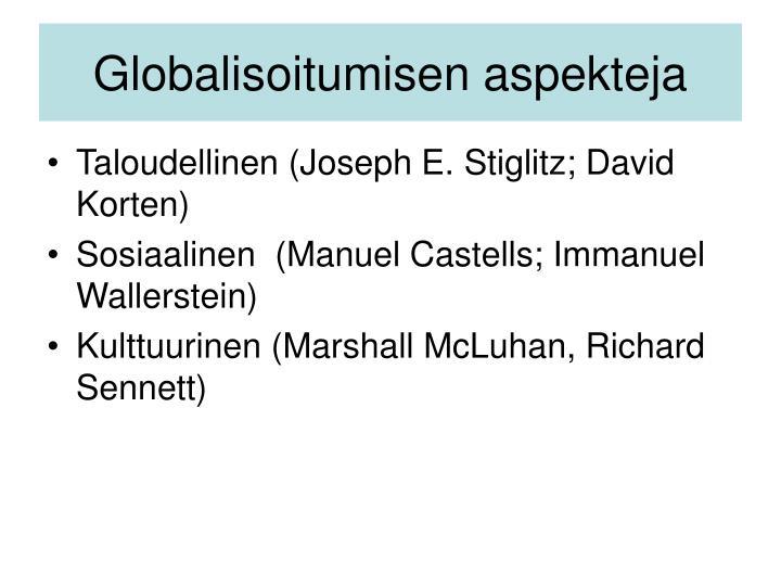 Globalisoitumisen aspekteja