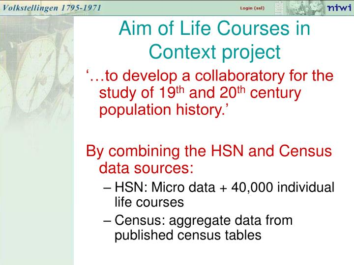 Aim of Life Courses in Context project