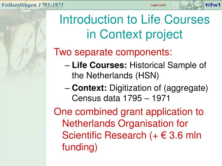 Introduction to Life Courses in Context project