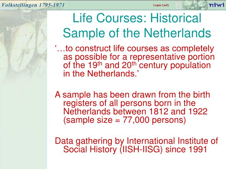 Life Courses: Historical Sample of the Netherlands