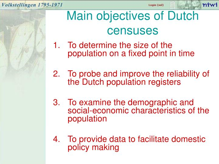 Main objectives of Dutch censuses
