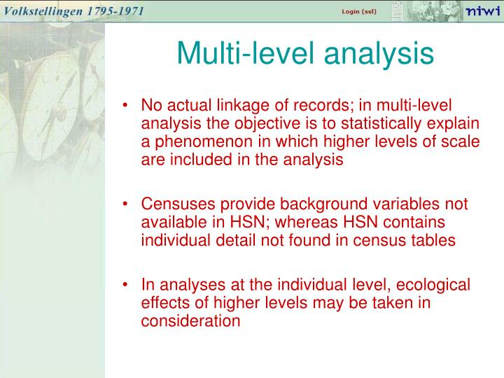Multi-level analysis