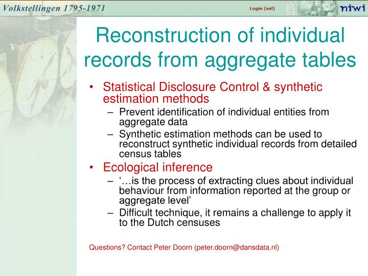 Reconstruction of individual records from aggregate tables