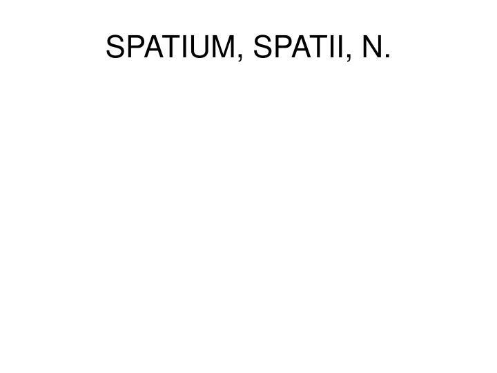 SPATIUM, SPATII, N.