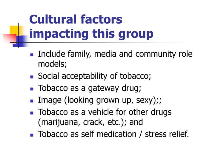 Cultural factors            impacting this group