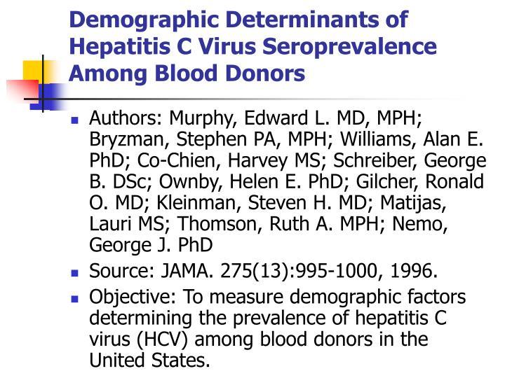 Demographic Determinants of Hepatitis C Virus Seroprevalence Among Blood Donors