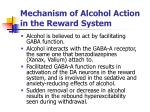 mechanism of alcohol action in the reward system