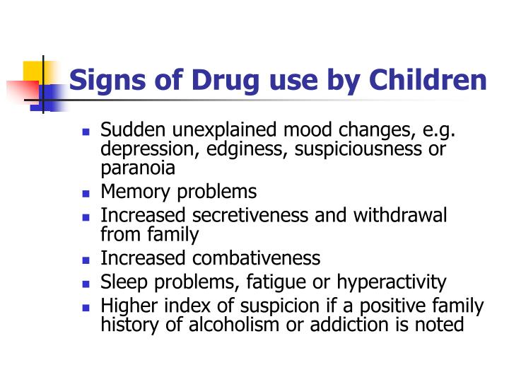 Signs of Drug use by Children