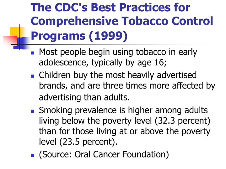 The CDC's Best Practices for Comprehensive Tobacco Control Programs (1999)