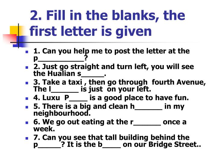 2. Fill in the blanks, the first letter is given