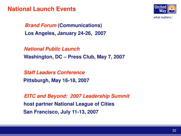 National Launch Events