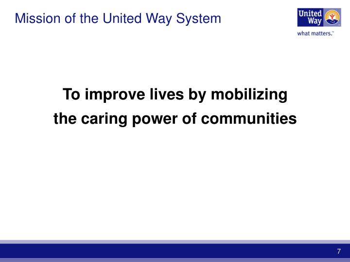 Mission of the United Way System