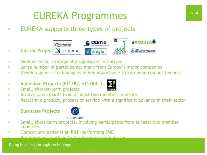 EUREKA supports three types of projects