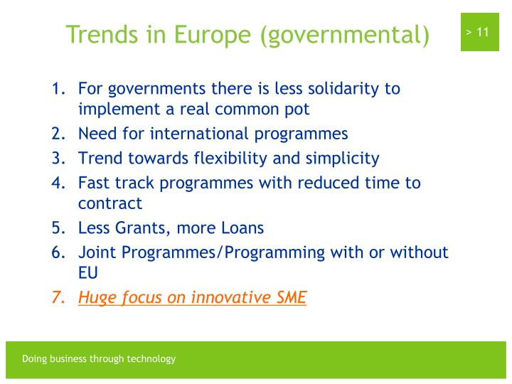 Trends in Europe (governmental)