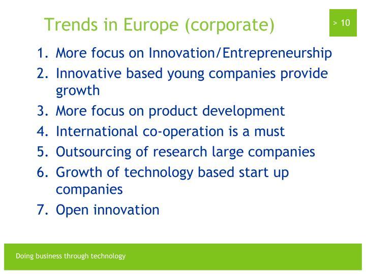 Trends in Europe (corporate)