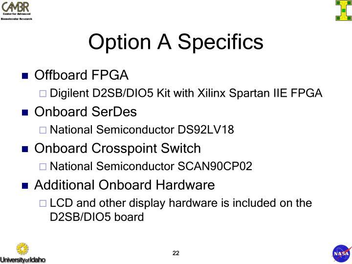 Option A Specifics