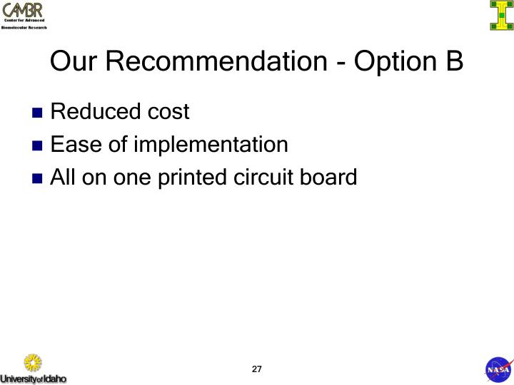 Our Recommendation - Option B