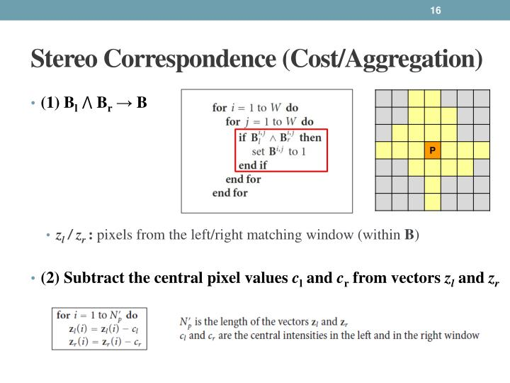 Stereo Correspondence (Cost/Aggregation)
