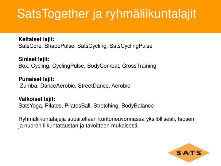 SatsTogether ja ryhmäliikuntalajit